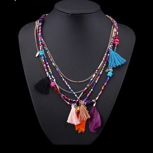 Boho beaded multi strand necklace with tassels